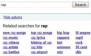 "Google related searches : requête ""rap"""