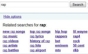 "Google related searches : requête ""rap"""