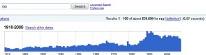 "Google timeline : recherche ""rap"""