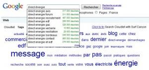 """Google Suggest sur la recherche """"Direct Energie"""""""