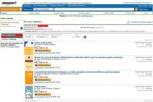 """Page """"liste de veux"""" sous Amazon"""