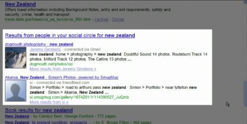 Un résultat Google social search pour la requête Nouvelle-Zélande