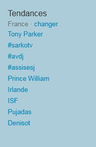 Tendances du 17/11/2010 sur Twitter en France