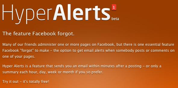 HyperAlerts : service de surveillance de page facebook