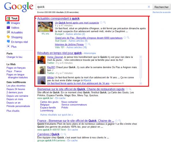 La réputation de Quick se fait également sur Google