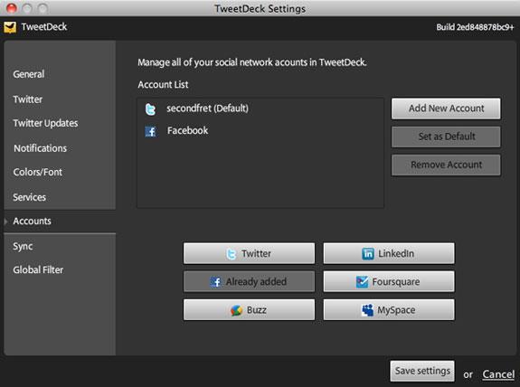Formulaire d'ajout de compte dans Tweetdeck