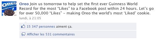 La page facebook d'Oreo