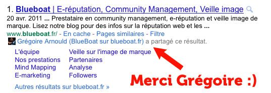 Capture d'écran de Google Social Search