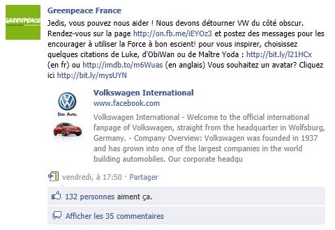 Greenpeace appelle les internautes à se rendre sur la page de VW