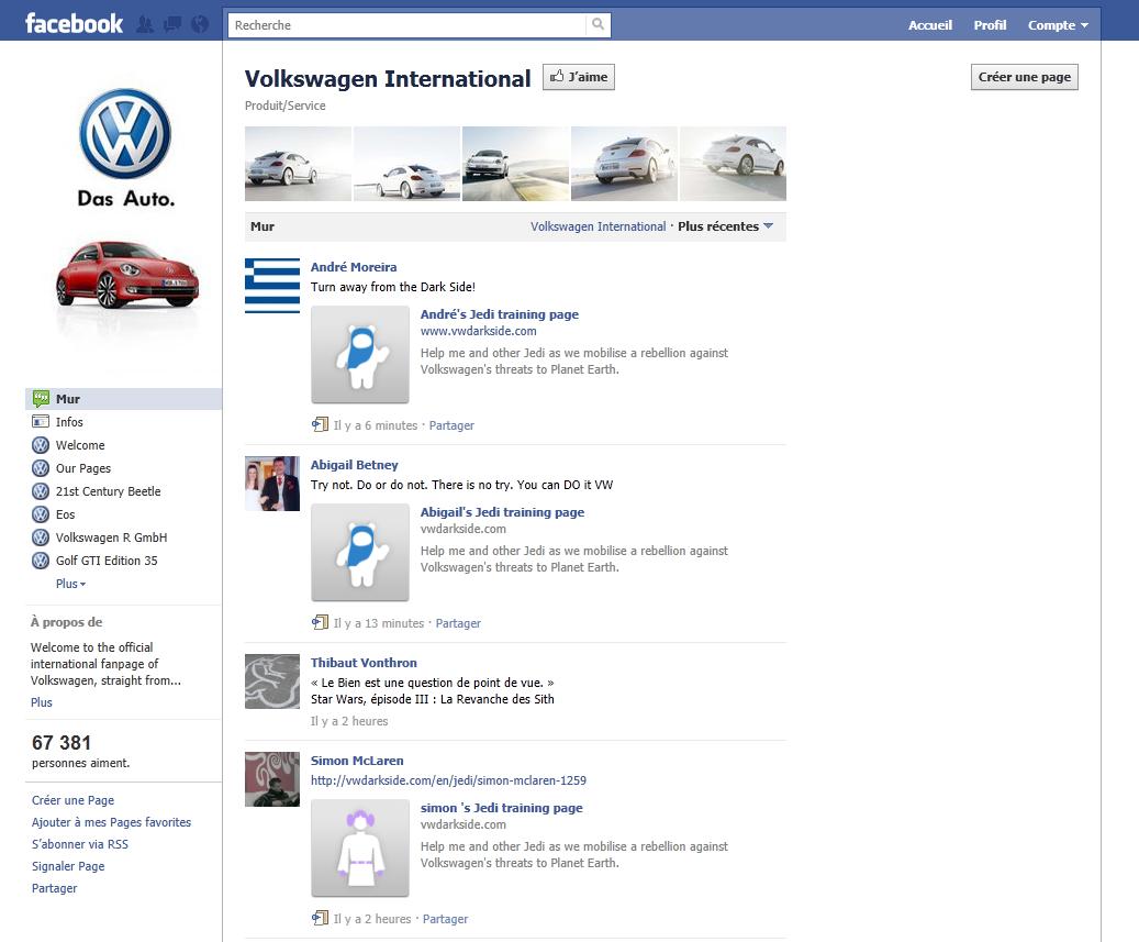 Greenpeace s'empare du mur Facebook de Volkswagen