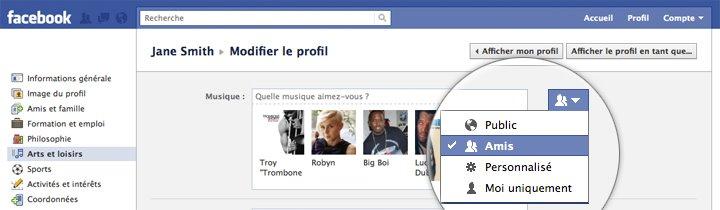 Facebook : paramètres de confidentialité
