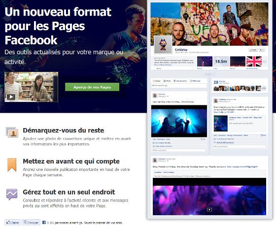 Facebook fait passer les pages en mode timeline
