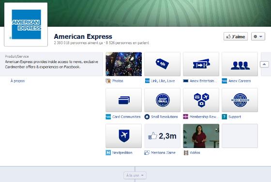 Page Facebook de American Express au format timeline
