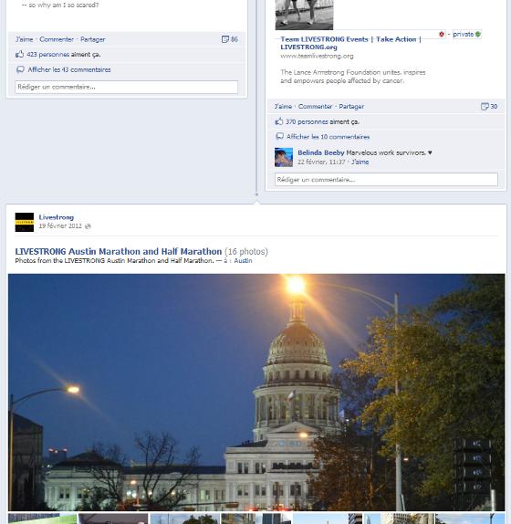 Page Facebook de Livestrong au format timeline