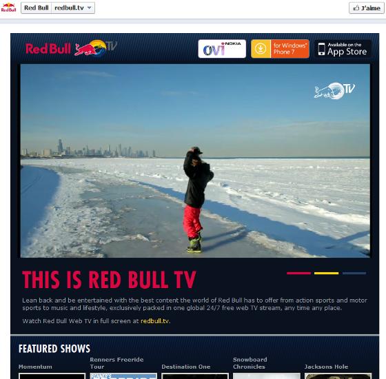 Page Facebook de Red Bull au format timeline