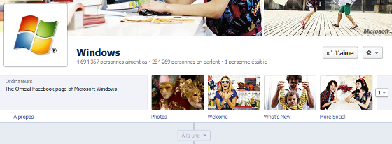 Page Facebook de Windows au format timeline
