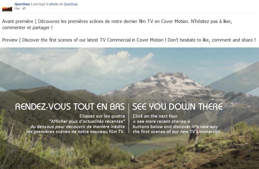 Sur Facebook Quechua, les images s'animent !