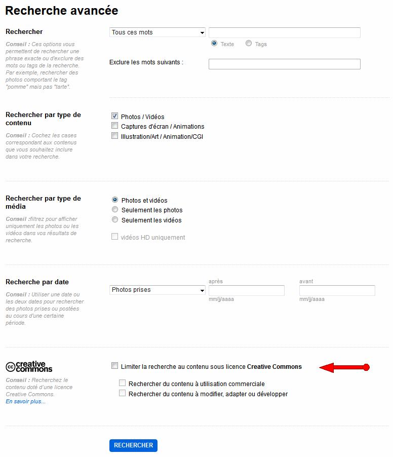 Formulaire de recherche avancée de Flickr