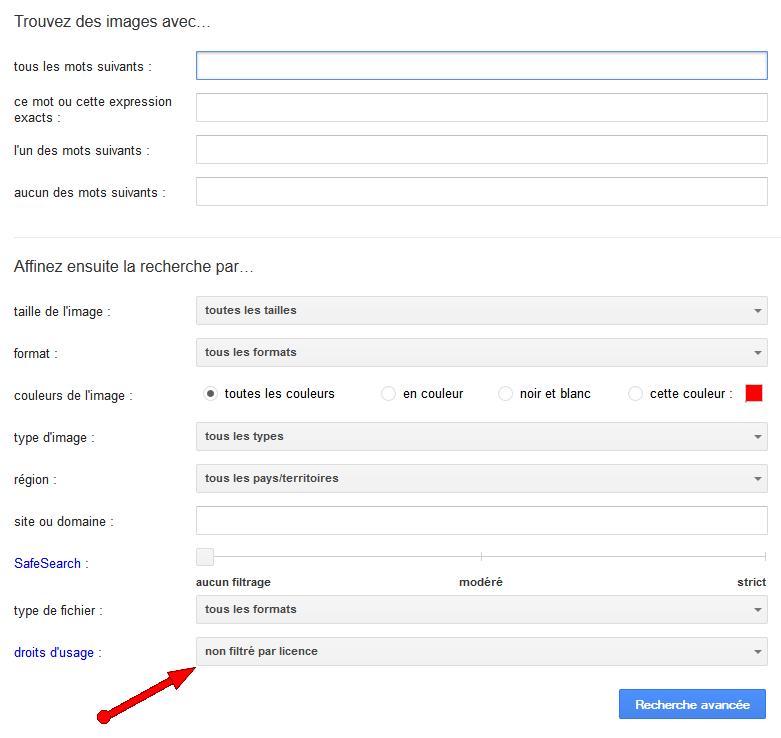 Formulaire de recherche avancée de Google Images