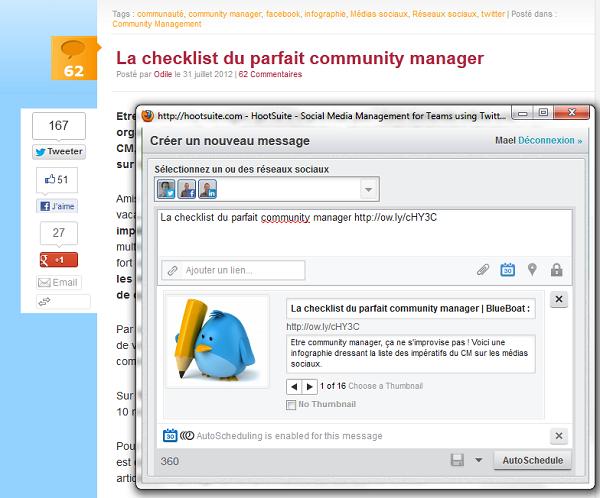 HootSuite optimise le moment de diffusion des messages sur les médias sociaux
