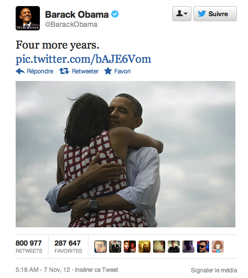 Le tweet de Barack Obama lors de sa réélection en 2012