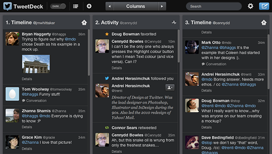 Copie d'écran de Tweetdeck