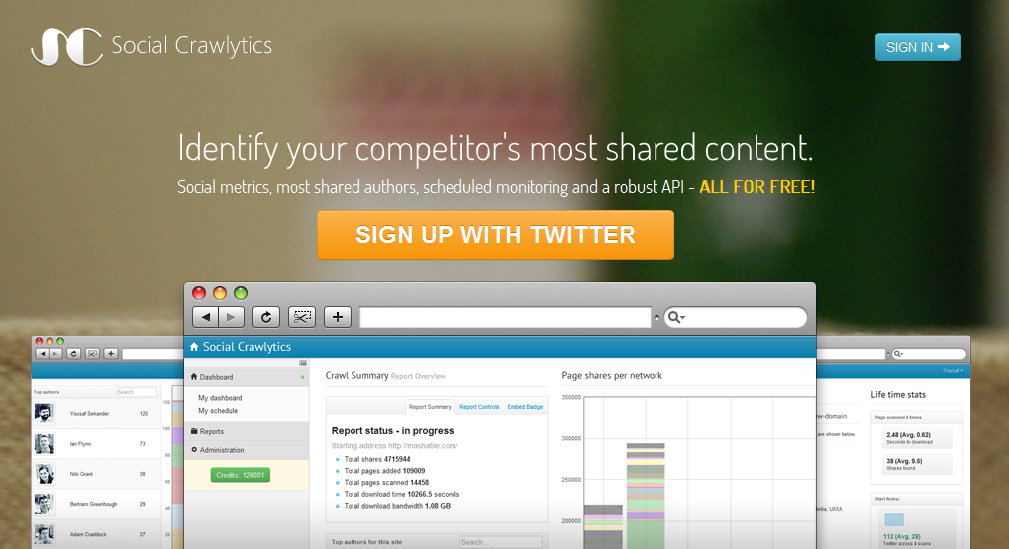 Social Crawlytics pour mesurer vos partages sur les réseaux sociaux