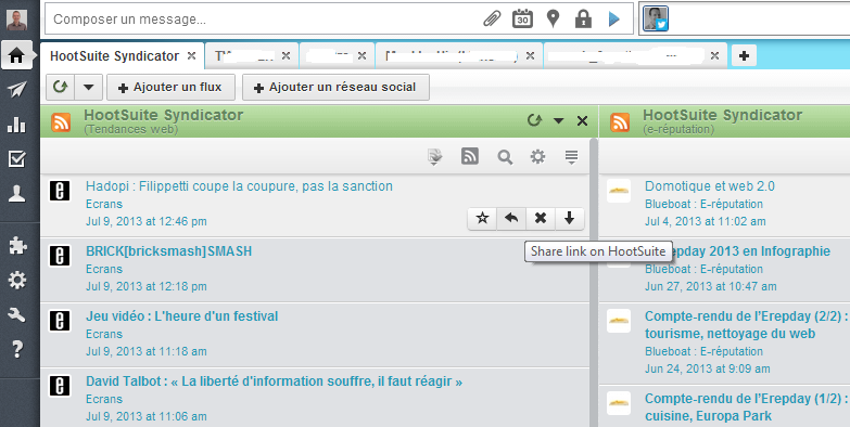 Consulter ses flux RSS avec HootSuite Syndicator