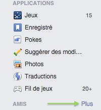 gestion liste amis Facebook