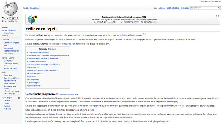wikipedia veille