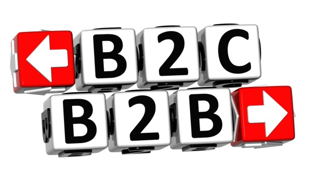 3D B2B B2C Button Click Here Block Text over white background